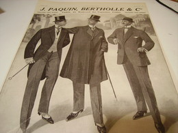 ANCIENNE PUBLICITE CREATION PAQUIN BERTHOLLE TAILLEUR  1912 - Chocolate