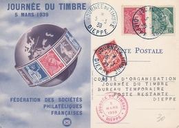 Journée Du Timbre Dieppe 1939 - Carte Spéciale Taxée - Poststempel (Briefe)