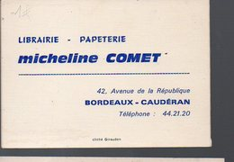 Caudéran(33 Gironde) Calendrier 1971 LIBRAIRIE MICHELINE COMET   (PPP12626) - Calendars