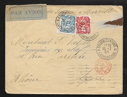 Indochine Lettre  Par Avion Saïgon Le 30/07/1931 A Lyon Le 11/08/1931 Les N°132 Et 136     B/TB - Lettres & Documents