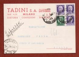 CARTOLINA PUBBLICITARIA  TADINI S.A. SARTORIA IN MILANO  CON DATE MILANO 31/12/1943  E BIELLA VERCELLI 1/1/1944 - Werbepostkarten