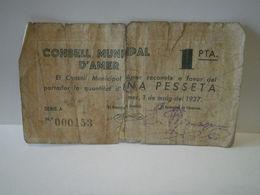 BILLETE LOCAL DEL CONSEJO MUNICIPAL DE AMER. 1 PESETA DEL AÑO 1937. GUERRA CIVIL - [ 3] 1936-1975 : Régimen De Franco