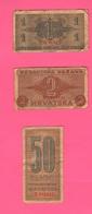Croatia Croazia Hrvatska  War Currency Notes 50 Banica + 1 + 2 Kune 1942 - Croazia