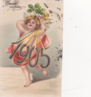 CPA Gaufree Ange Angelot Angel Bonne Année 1905 Porte-Bonheur Fantaisie Embossed Illustrateur - Anges