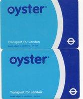2 CARTES DE TRANSPORT METRO Oyster  LONDRES  Royaume-Uni - Titres De Transport