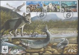 FINLAND, 2018, WWF, ENDANGERED ANIMALS, BIRDS, OWLS, WOLVES, FISH, SALMON, 3v ON LOCAL FDC - W.W.F.