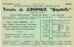 Ancienne Publicité Pour Le Terrain De Camping Bagatelle, Île De La Barthelasse, Avignon (vers 1970) - Publicités