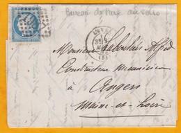1872 - 25 C Cérès Sur Lettre Avec Correspondance De  Laval Vers Angers - Bureau De Passe 2188 Le Mans - Cad  Arrivée - 1871-1875 Cérès