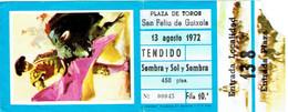 Ancien Ticket D'entrée Corrida Plaza De Toros San Feliu De Guixols (13/8/1972) - Tickets D'entrée