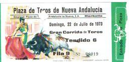 Ancien Ticket D'entrée Corrida Plaza De Toros De Nueva Andalucia, Marbella (22/7/1973) - Tickets D'entrée