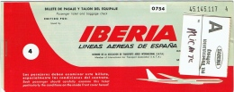 Ticket/Billet D'Avion. Iberia. Brussels/Palma/Alicante/Barcelone/Brussels. 1972. - Europe