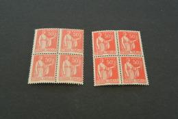 FR661 - Bloc De 4  -2diif. Colors -  MNH  France 1932 -SC. 266 - YV.283 - Peace -paix - 50c Rose Red - 1932-39 Paix