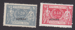 Azores, Scott #Q5-Q6, Mint Hinged, Parcel Post Overprinted, Issued 1921 - Azores