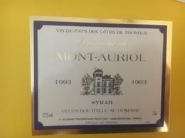 8348 -  Domaine De Mont-Auriol  1993 Syrah Vin De Pays Des Côtes De Thongue - Sonstige