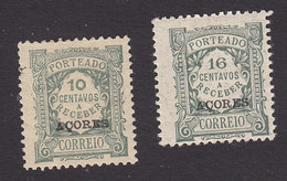 Azores, Scott #J35, J37, Used/Mint Hinged, Postage Due Overprinted, Issued 1922 - Azores