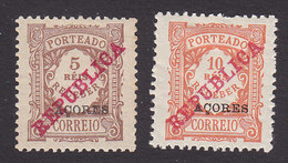 Azores, Scott #J8-J9, Mint Hinged, Postage Due Overprinted, Issued 1911 - Açores