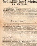 VP12.088 - NAPOLEON - Politique - Appel Aux Plébiscitaires - Napoléoniens Du Calvados - Tract De Mr L. GAUTHIER à CAEN - Documents Historiques