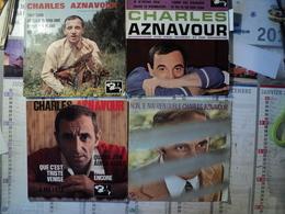LOT DE QUATRE 45 TOURS CHARLES AZNAVOUR. ANNEES 60 / 70 TROP TARD / AU CLAIR DE MON AME / DONNE TES 16 ANS / QUI / JE M - Autres - Musique Française