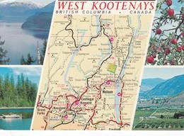 Postcard Map Multiview West Kootenays British Columbia Canada My Ref  B22608 - Maps