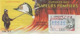 Billet De Loterie Nationale, Pupilles Des Sapeurs Pompiers, 1966, (timbre 1966, 34ème Tranche) - Lottery Tickets