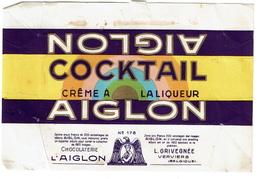 Emballage De Chocolat Chocolaterie AIGLON - COCKTAIL N° 178 - Verviers - Chocolate