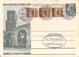 """806 """" CART. POSTALE *OPERE DEL REGIME-ROMA-MERCATI TRAIANEI* - TIMBRO DEL PODESTA' DI LOMNAGO"""" CART. ORIG. SPEDITA - Altri"""
