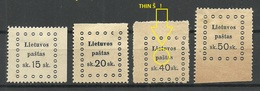 LITAUEN Lithuania 1919 = 4 Values From Michel 20 - 26 Incl ERROR Variety Abart * - Litauen