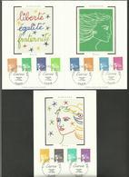 Lot 3 Cartes Maximum - 12 Valeurs / OB. Premier Jour 01.01.2002 - 1997-04 Marianne Du 14 Juillet