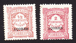 Azores, Scott #J15, J17, Mint Hinged, Postage Due Overprinted, Issued 1918 - Azoren