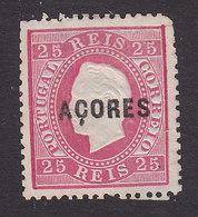 Azores, Scott #25, Mint No Gum, Portugal Stamp Overprinted, Issued 1871 - Azoren