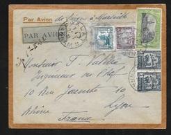 Lettre Par Avion De Dalat  27/1/1932 à Lyon Via Saïgon 29/01 Et Marseille 11/2/1932  N°144;159;paire Du 129 Et 150  B/TB - Indochina (1889-1945)