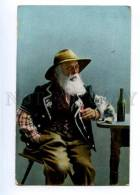 177505 GERMANY ETHNIC Drunk Man & KITTEN Vintage Postcard - Ethnics