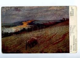 187777 ART NOUVEAU Landscape SHEEPS By KREUGER Vintage PC - Illustrators & Photographers