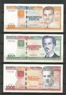 Cuba 2010 Banknotes $200, $500 And $1000 Pesos Banknotes UNC - Cuba