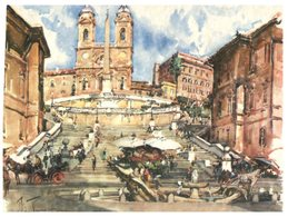 (234) Italy - Roma Monuments (2 Cards) Spanish Steps / St Jean Latran Basilica) - Monuments