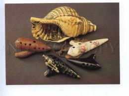 200211 Musical Instrument Seashell Old Postcard - Ethnics