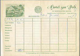 Facture Rechnung De L'Hôtel Zur Post, 555 Bernkastel Mosel (11/4/1973) - Sports & Tourism