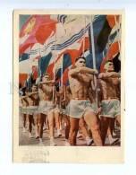 201308 RUSSIA NUDE Men On Sports Parade RPPC IZOGIZ 1962 Year - Cartes Postales