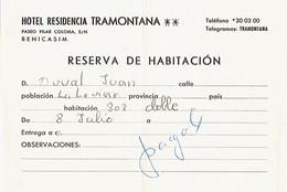 Ancienne Facture De L'Hôtel Residencia Tramontana, Paseo Pilar Coloma, Benicasim, Espagne (8/7/1973) - Espagne