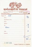 Coq Sur Ancienne Facture Du Restaurant Du Marché, Rue De L'Hôtel Dieu, Beaune (3/8/1973) - Sports & Tourisme