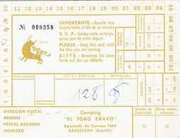 Carte Du Camping El Toro Bravo, Barcelone, Espagne (1973) - Cartes De Visite