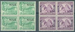NIUE - 1946 - MNH/** - Yv 76-77 IN BLOC OF 4 - Lot 16809 - Niue