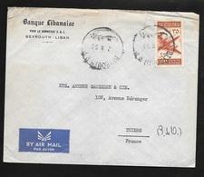 Liban Lettre Par Avion Banque Libanaise Pour Le Commerce Beyrouth Le 7/10/1953 à Thiers  Poste Aérienne N°87  B/TB - Lettres & Documents