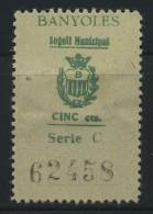 Guerra Civil . Banyoles . Segell Municipal 5 Cts . Serie C . - Viñetas De La Guerra Civil
