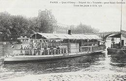 """Paris - Quai D'Orsay, Départ Du """"Touriste"""" Pour St Saint-Germain Tous Les Jours - Carte Non Circulée - La Seine Et Ses Bords"""