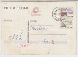 Postal Stationery * Portugal * 1985 * Fundão * Taxa Adicional * Aviso Chegada CP * Registered * Fundão Red Postmark - Postal Stationery