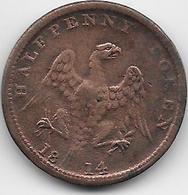 Grande Bretagne - Half Penny - 1814 - 1662-1816 : Antiche Coniature Fine XVII° - Inizio XIX° S.