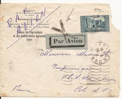 MAROC RABAT ENVELOPPE VERS CHATILLON-SUR-SEINE PAR AVION 1931 - Maroc (1891-1956)