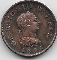 Grande Bretagne - Farthing - 1807 - 1662-1816 : Antiche Coniature Fine XVII° - Inizio XIX° S.
