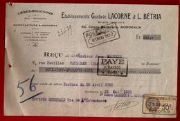 Reçu Lièges Bouchons Lacorne & Bétria Cours Balguerie Bordeaux 31-05-1932 - Manufacture à Morcenx - 1900 – 1949